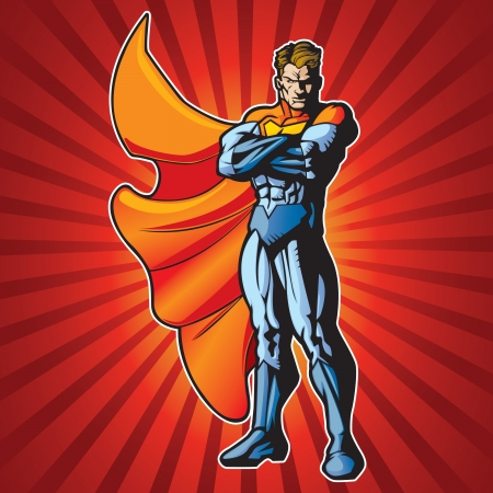 Generic superhero with arms crossed and a serious face  Stock Vector - 14312657