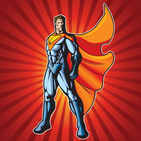 muscle cartoon: Generic superhero standing with cape flowing in the wind