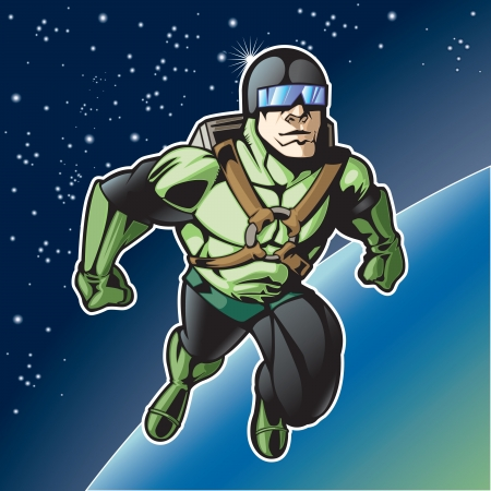 Super hero with rocket pack above a planet