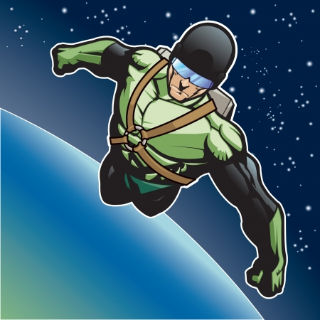 tough man: Super hero with rocket pack above a planet