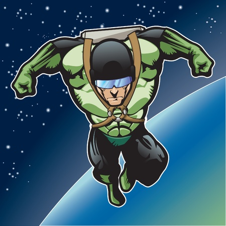 Super hero with rocket pack above a planet  Stock Vector - 14312687