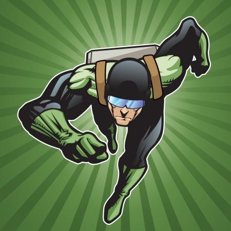 historietas: Super héroe con el paquete de cohetes corriendo hacia adelante