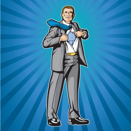 Business man opening shirt to show super hero suit  Ilustracja
