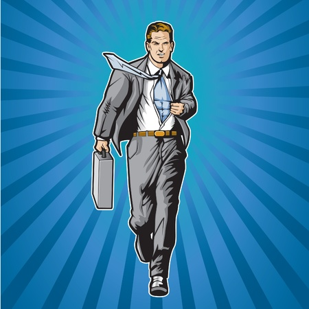 Business man opening shirt to show super hero suit  Vectores