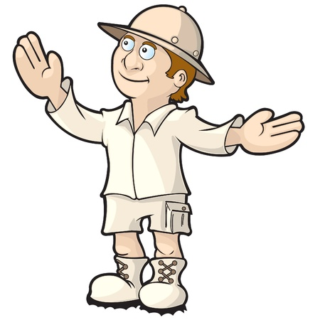 Explorer or tour guide showing off a place or object