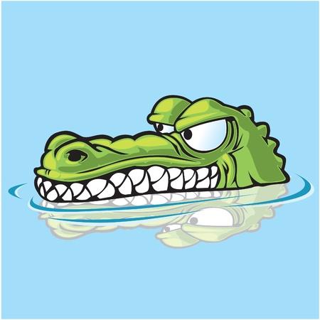 Alligator or crocodile sneaking up on prey