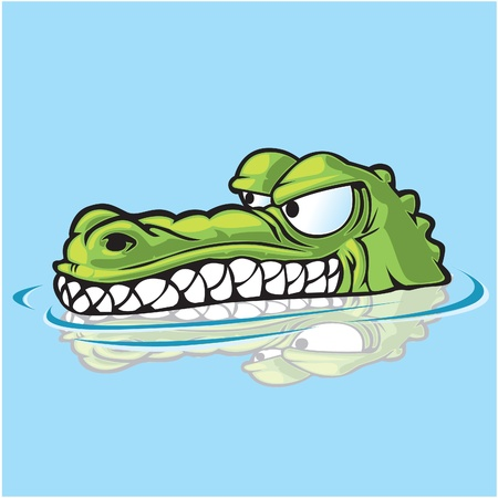Alligator or crocodile sneaking up on prey  Vector