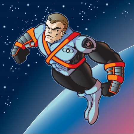 Futuristic super hero police officer flying into space