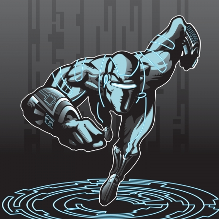 Technologically advanced looking superhero in a cyber environment  Vector