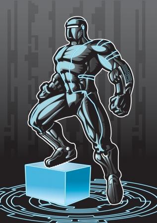 Superhéroe busca de tecnología avanzada en un entorno cibernético