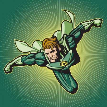 flying man: Image is layered so you can edit easily  Put your own logo on his chest