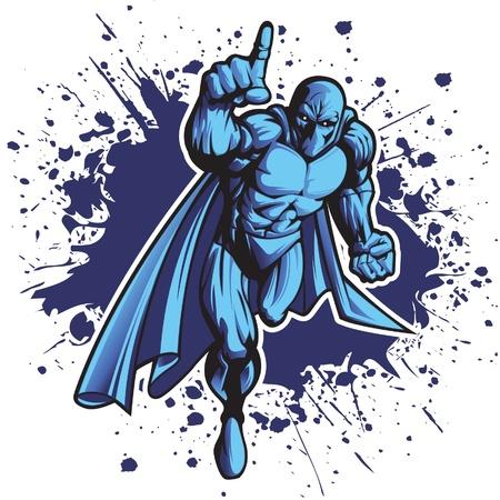 Dark superheld of slechterik opladen naar voren. Zet uw logo op zijn borst!