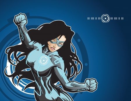 villain: Technologically advanced looking female superhero in a cyber environment. Illustration