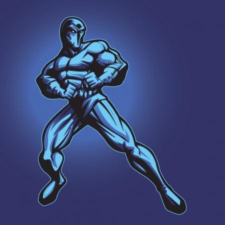 Dark superhero or villain standing in defense  Put your logo on his chest  Ilustrace