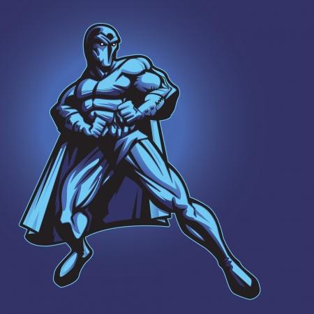 villain: Dark superhero or villain standing in defense  Put your logo on his chest  Illustration