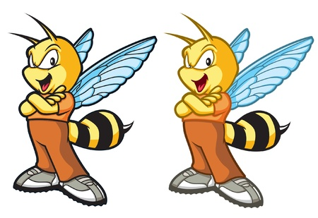 Cartoon be with a confident attitude. Two versions: Black Lines, Color lines. Layered and easy to edit. Vector