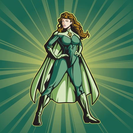 superhero: Image is layered so you can edit easily  Put your own logo on her chest