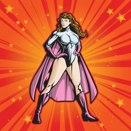 Super héros féminin du fichier debout heroicly est en couches pour faciliter l'édition