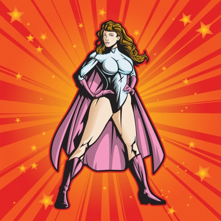 villain: Super hero female standing heroicly  File is layered for easy editing