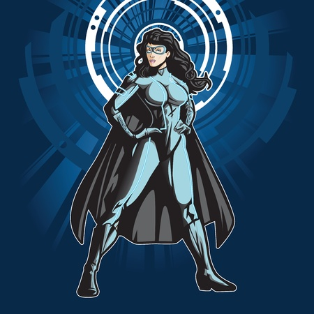 villain: Technologically advanced looking female superhero in a cyber environment