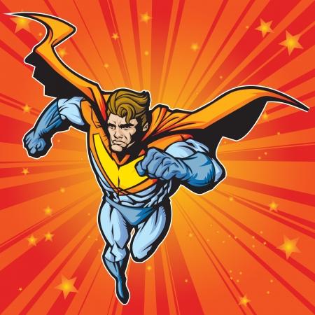 Generieke superheld figuur draait vliegen vooruit in een snel tempo Gelaagde gemakkelijk te bewerken Zie portfolio voor simular beelden