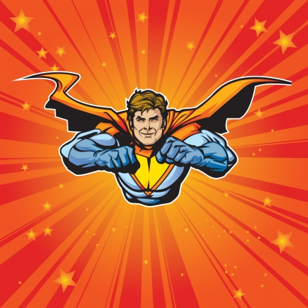 Figura superhéroe genérico volar hacia adelante a un ritmo acelerado con capas de fácil editar Véase la cartera para simular imágenes Ilustración de vector