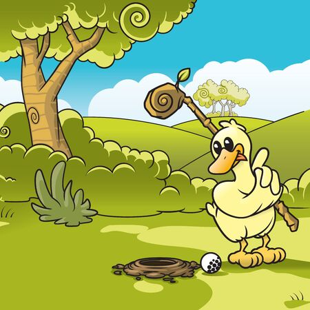 Vector illustration of a duck playing golf  Vector