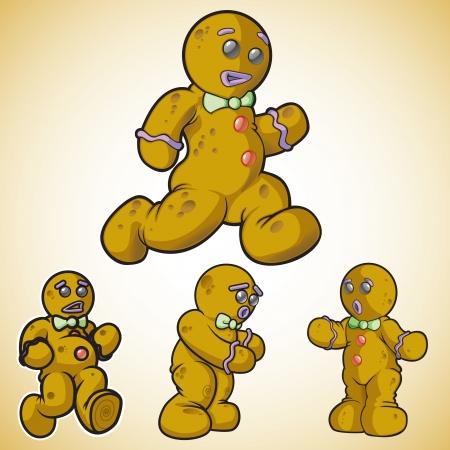 galleta de jengibre: Pan hombre en diferentes poses Vectores
