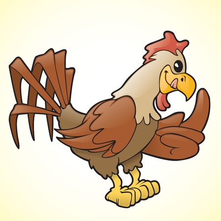 cockscomb: Cartoon rooster gesturing with his wing