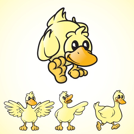 small group of objects: Cartoon vector ducks in various poses