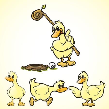agachado: Patos de vectores de dibujos animados en varias poses Vectores