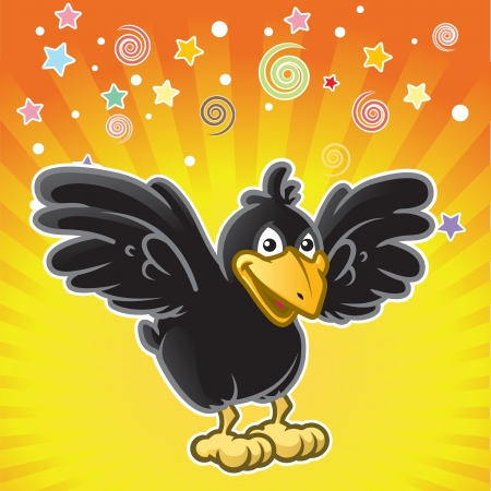 carrion: Cartoon black bird yelling surprise