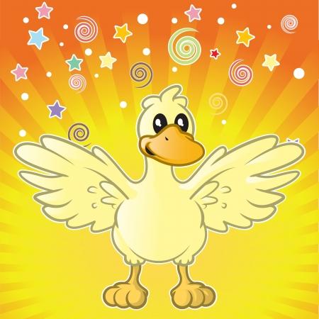 Cartoon duck yelling surprise   Illustration