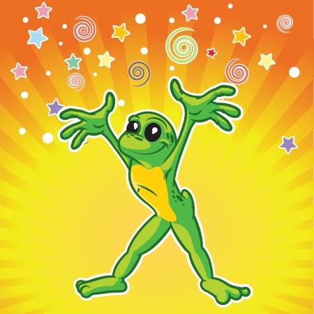 Cartoon frog yelling surprise Stock Vector - 19385893