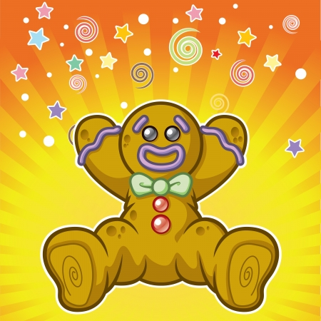 man yelling: Cartoon gingerbread man yelling surprise