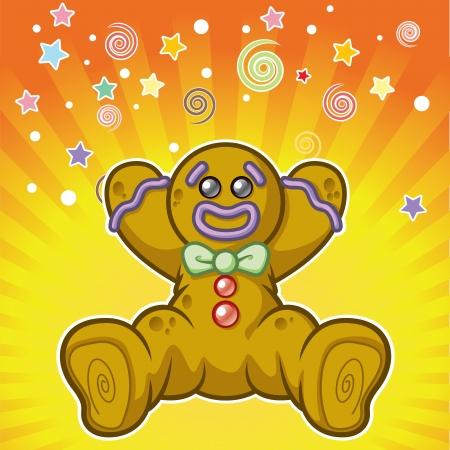galletas de jengibre: Cartoon hombre de pan de jengibre gritar sorpresa