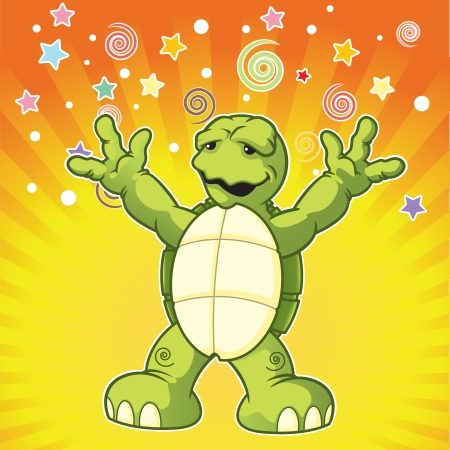 Cartoon turtle yelling surprise