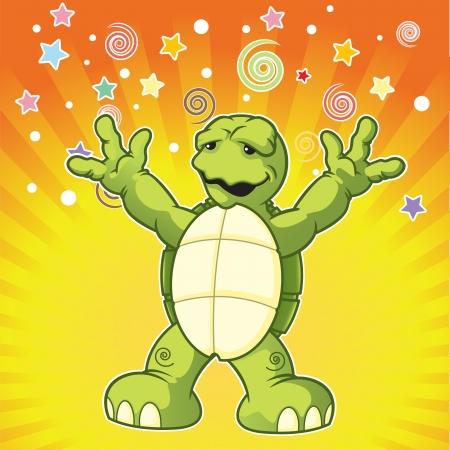 Cartoon turtle yelling surprise Stock Vector - 19385896