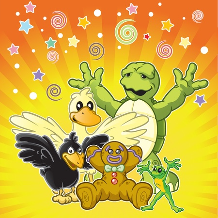 children turtle: Colorful animal pals at a surprise birthday party   Illustration