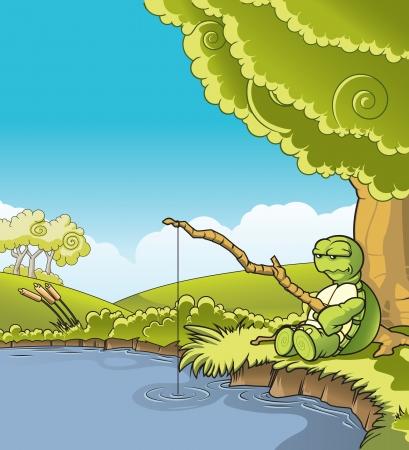 Schildpad met een stok vond hij als een hengel