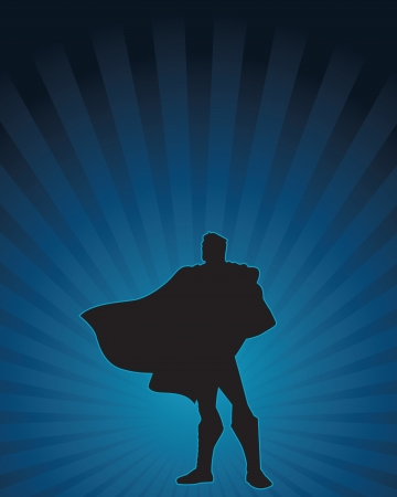 super hero: Heroic silhouette of a confident male figure  Illustration