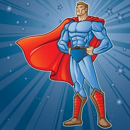 Figura superhéroe genérico de pie, orgullosos capas fácil de editar Véase la cartera para simular imágenes