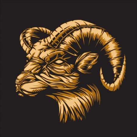 RAM con un fondo negro que representa signo del zodiaco Aries o simplemente un vector agudo gráfica para uso general en capas y fácil de editar Foto de archivo - 22351483