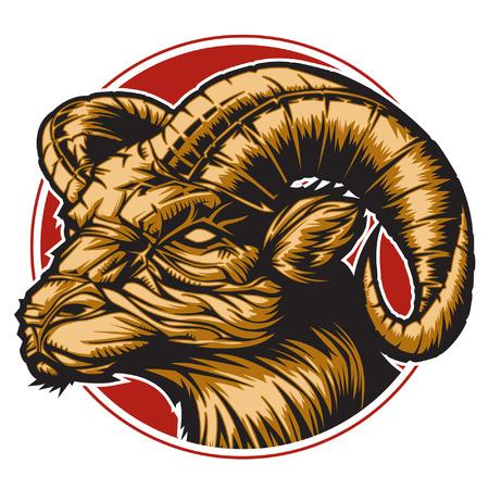 aries: RAM con un c�rculo rojo que representa signo del zodiaco Aries o simplemente un vector agudo gr�fica para uso general en capas y f�cil de editar