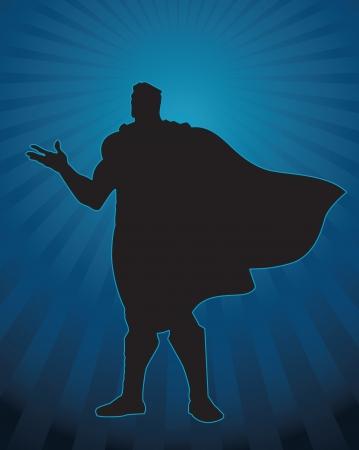 自信を持って男性図の英雄的なシルエット