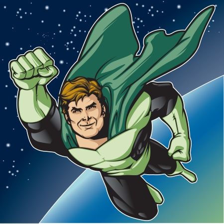 comicbook: Generic superhero figure flying in space   Layered   easy to edit  See portfolio for similar images