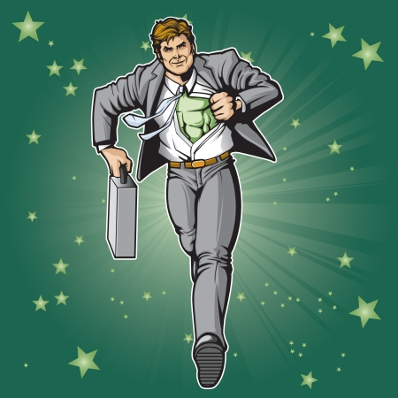 Generic businessman superhero figure changing   Layered   easy to edit  See portfolio for similar images  Vectores