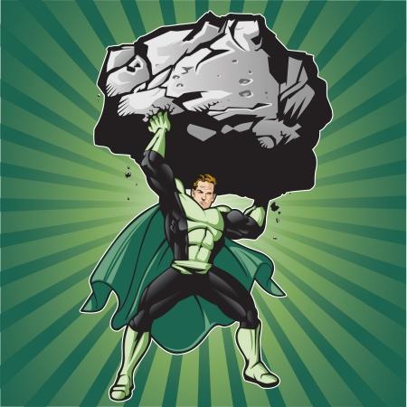 Generische Superheldenfigur, die einen großen Felsbrocken hebt. Überlagert, leicht zu bearbeiten. Siehe Portfolio für ähnliche Bilder
