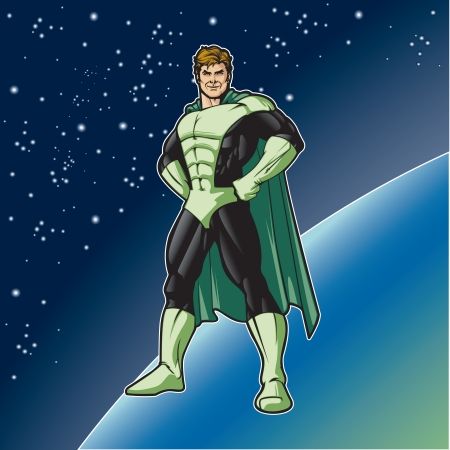 comicbook: Generic superhero in a heroic stance   Layered   easy to edit  See portfolio for simular images  Illustration
