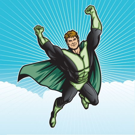 Generic superhero figure flying in the sky   Layered   easy to edit  See portfolio for similar images  Illustration